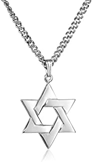 Men's Sterling Silver Star of David Pendant with Stainless Steel Chain