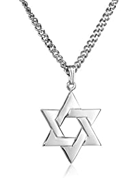 Men's Sterling Silver Star of David Pendant with Stainless Steel Chain, 24""