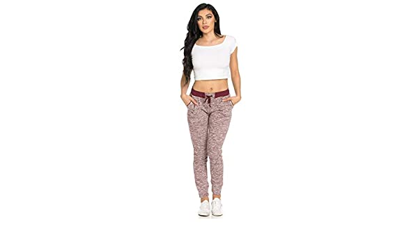 Medium, Burgundy Crop Top Bundle Ambiance Womens Juniors Soft Jogger Pants