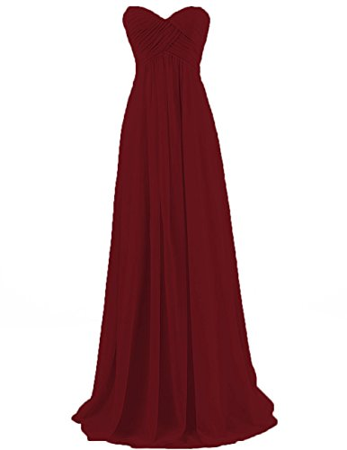 (Bridesmaid Dresses Long Prom Dress Evening Party Gowns Plus Size Chiffon Sweetheart Maxi for Women Burgundy US 12)