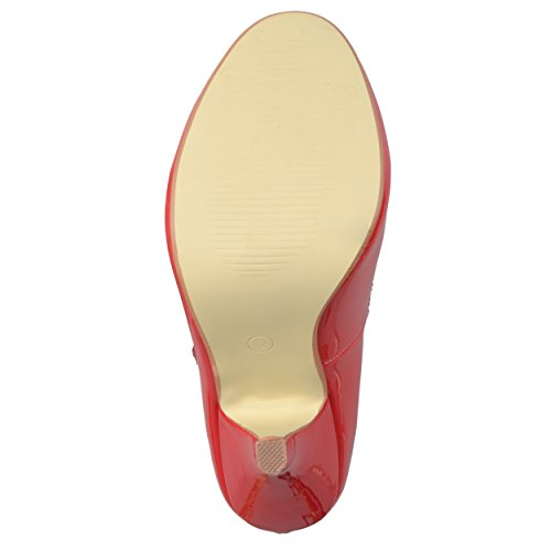 Journee Collection Dames Vervolgde T-strap Ronde Neus Pumps Rood Patent