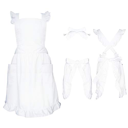 Premium Maid Apron with Ruffle Outline,Victorian Apron with Two Kinds Adjustable Straps Method,Frilly Apron For Women Cosplay Character Day,One Size Fits All(White)