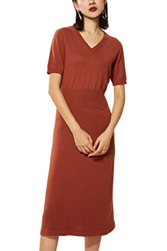 - Sweater Dress Women's Cashmere Knitted V Neck Short Sleeve Off Knee midi Dress (S, C-Brown)
