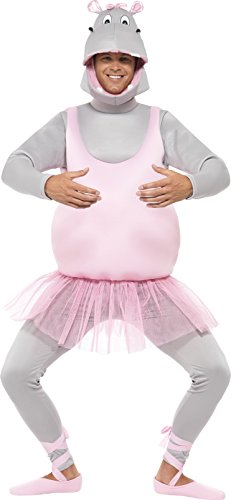 Halloween Adults Ballerina For Costumes (Smiffy's Adult Unisex Ballerina Hippo Costume, Top, pants Headpiece and Shoe Covers, Party Animals, Serious Fun, One Size,)