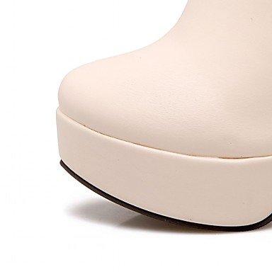Heart&M Damen Schuhe Kunstleder Herbst Winter Komfort Neuheit Stiefeletten Stiefel Blockabsatz Runde Zehe Booties / Stiefeletten Strass Für Normal beige