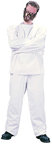 Mens White Straight Jacket Mental Patient Psycho Halloween with Mask Fancy Dress Costume Outfit]()