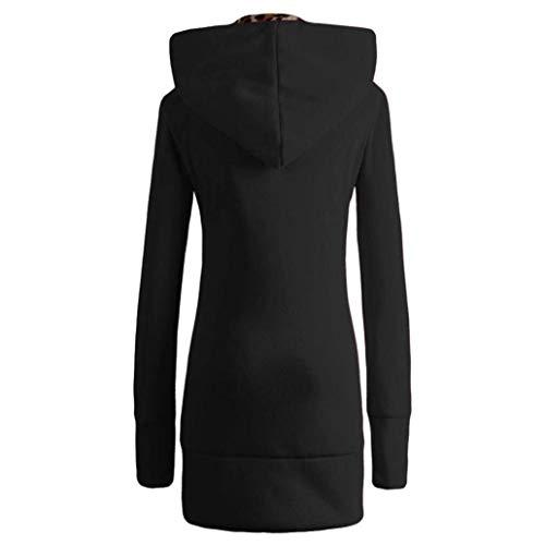 Slim Gaine Fashion Outerwear Lopard Coat Blouson Vintage Schwarz Chaud Automne Elgante Loisir Femme Spcial A Capuche Capuchon Style Longues Manches Hiver Fit 7rwY7Sq