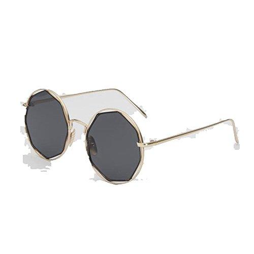 Marco de de Gafas Dorado montura sol y de elegantes redondas Hoja sol metálicas Ceniza Gafas de de redonda de sol Shop gafas 6 de sol gafas FqSAXA