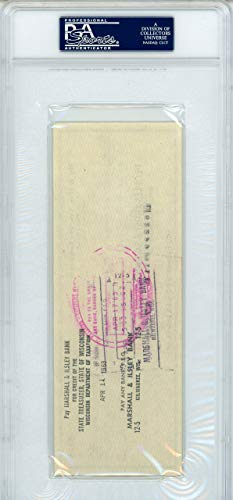 Vince Lombardi Autographed 3X8 Check Green Bay Packers Mint 9 PSA/DNA Authentic