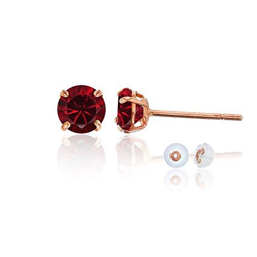 3mm Ruby Stud Earrings - 14K Rose Gold 6mm Round Gemstone Stud Earring (Ruby)
