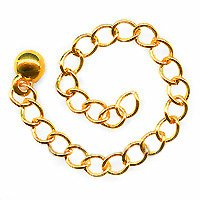 22K Gold Plated Chain Necklace Extender - 3 Inch (Brass Link Chain Circle Necklace)
