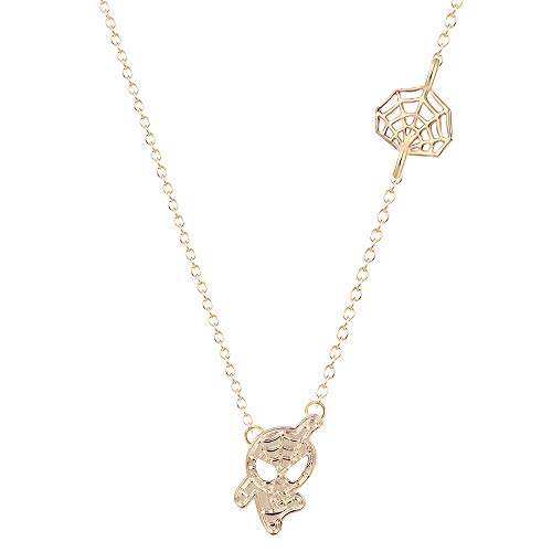 WLLAY Fashion Spider Man and Web Pendant Charm Necklace (Gold) ()