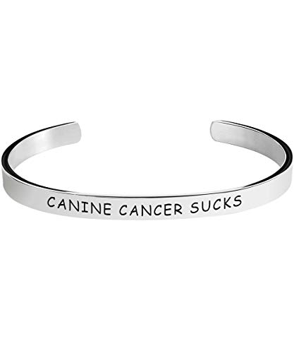 Herlica Canine Cancer Awareness Bracelet - Canine Cancer Sucks - Stamped Bracelets Jewelry Product Gifts for Men/Women -