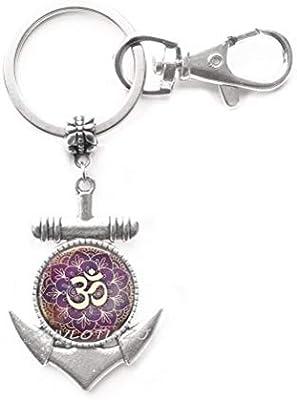 Amazon.com : Om Anchor Keychain Yoga Jewelry Purple Lotus ...