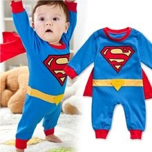 Superman Other Costumes (Superman Long Sleeve Baby Boy Dress Romper Halloween New Jumpersuit Costume)