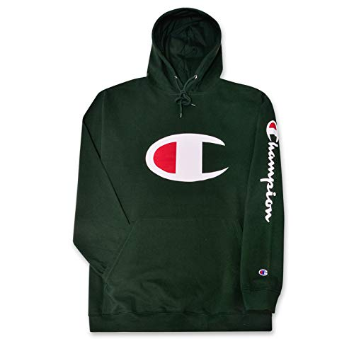 Champion Big and Tall Mens Fleece Pullover Hoodie with Big C Logo DK. Green 2X Tall