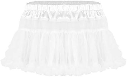 メンズ皮ひも、ブリーフ メンズ異性装シシースカートサテン伸縮性のあるウエストフリルソフトチュールレイヤードショートミニチュチュスカート 男性のための (Color : White, Size : One Size)