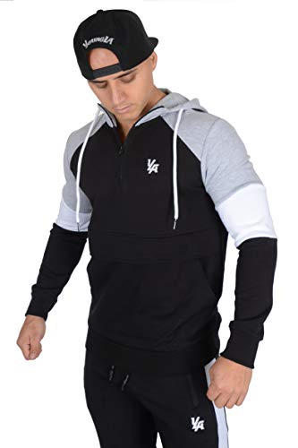 YoungLA Quarter Zip Hoodie Hooded Sweatshirt for Men Pullover with Pockets 519 Black/Athletic Heather Medium