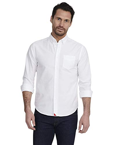 UNTUCKit Russian River - Untucked Shirt for Men Long Sleeve, White Oxford, X-Large Slim Fit