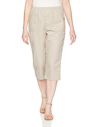Chic Classic Collection Women's Cotton Pull-on Utility Pocket Capri with Elastic Waist, Khaki, 14 (Cotton Capris)
