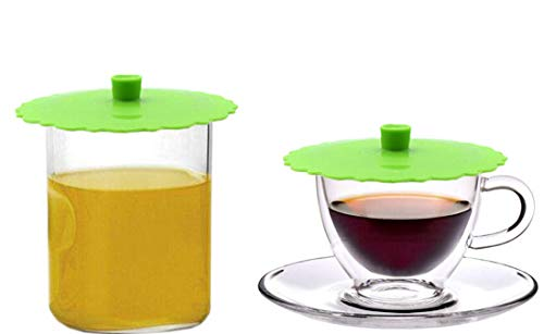 JSS Set of 2 Round Silicone Mug Coffee Cup Cap, Seal Air Tight Drink Cup Lid, Tea Glass Cup Cover, Spill Proof Suction Lid Tumblers (GreenA)