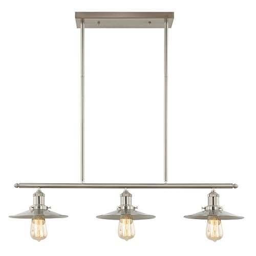 Light Geometric Three - Light Society Avenue 3-Light Kitchen Island Pendant, Brushed Nickel, Vintage Modern Industrial Chandelier (LS-C174)