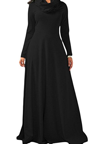 Funnel Full Coolred Women Length Sleeves Pure Black Color Dress Cotton Neck A44F7qwXO