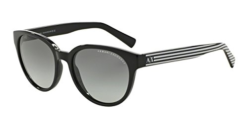 Armani Exchange AX4034 Sunglasses 815311-54 - Black / Black White Stripe Frame, Grey - Sunglasses 4034