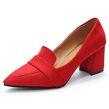 LvYuan-GGX Damen High Heels Pumps Wildleder Sommer Normal Kleid Walking Pumps Blockabsatz Schwarz Grau Rot Blau 12 cm & Mehr, Ruby, us6   eu36   uk4   cn36