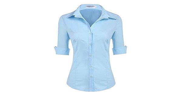 Dooxii Mujer Moda Medias Mangas Color Sólido Camisas Casual ...