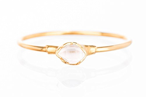 Tiny Raw Herkimer Diamond Ring, Yellow Gold, Size 7, Dainty Boho Style Jewelry
