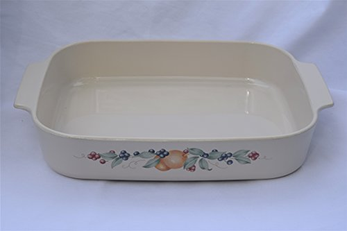 Vintage Corning Ware ABUNDANCE fruit pattern A-21-B-N A21 LARGE OBLONG OPEN ROASTER ROASTING BAKING DISH CASSEROLE LASAGNA PAN ORIGINAL SMOOTH BOTTOM PYROCERAM GLASS MADE IN USA