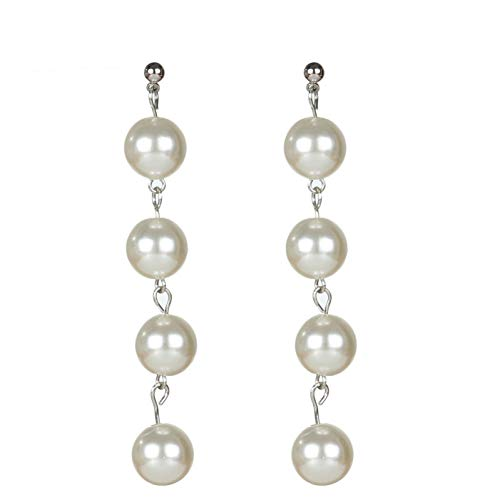 IUTING Fancy Jewelry Gold Color Silver Color Simulated Pearl Earrings 4 Pearls Long Dangle Earrings