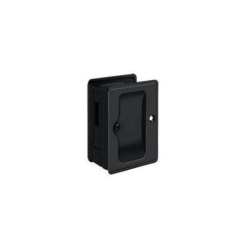 Pocket Door Hardware, Solid Brass, black HD Pocket Lock, Adjustable, 3 1/4'' x 2 1/4'' Sliding Door Receiver.