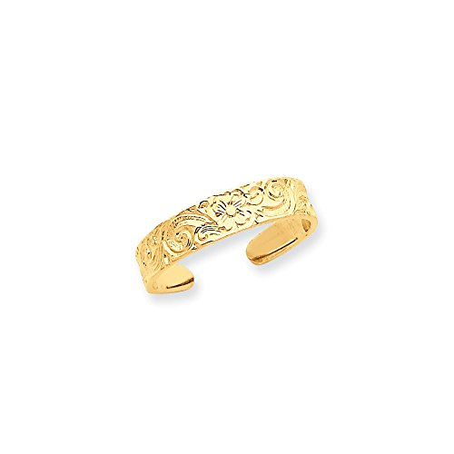 14k Flower and Scroll Toe Ring by CoutureJewelers