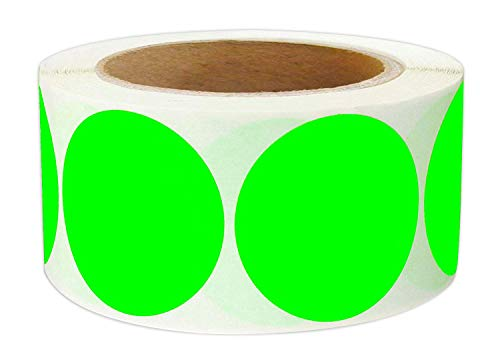 Green Inventory Circle Labels - 2 Inch Round Color - Code Dot Labels | Fluorescent Color Coding Colored Labels | 500 Permanent Adhesive Colored Circle Stickers Per Roll for Moving/Storage/ Organizing/Color Coding/Arts (Green)