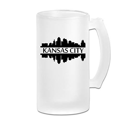Kansas City Silhouette Frosted Glass Stein Beer Mug - Personalized Custom Pub Mug - 16 Oz Beverage Mug - Gift For Your Favorite Beer Drinker