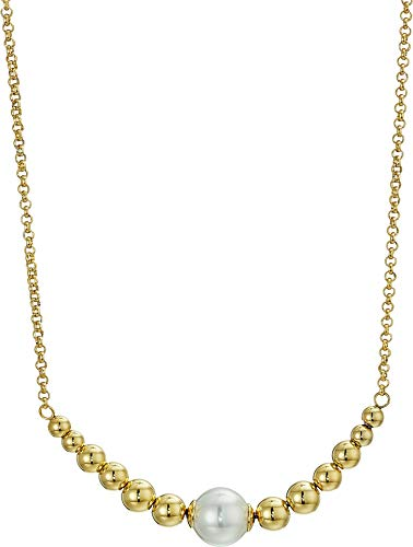 Majorica Women's 10mm Round Pearls on Gold Plated Steel Pendant with Beaded Accents Necklace 15-25¿ White One (10mm White Round Pearl Necklace)