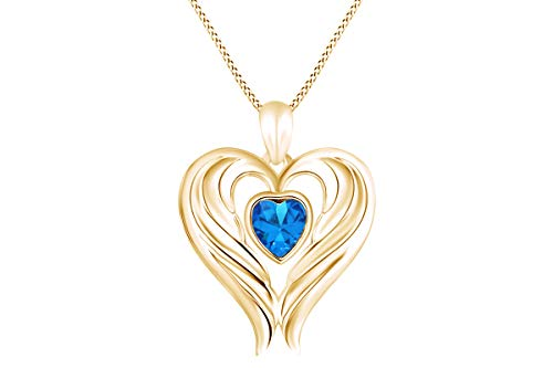 Heart Shape Simulated Blue Topaz Angel Wing Heart Pendant Necklace in 14k Yellow Gold Over Sterling Silver