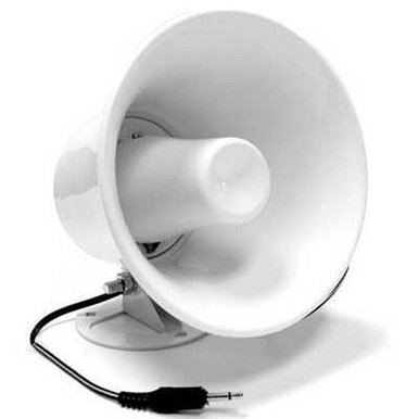"Pro Trucker 5"" 12 Watt Waterproof PA Horn Speaker with 10' Cord and 3.5 mm Plug"