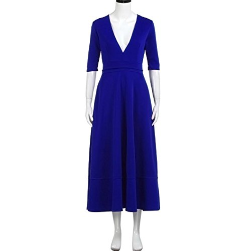 QinMM Frauen Lange Ballkleid Prom Damen Abend Party Swing Sommerkleid Blau
