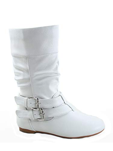FZ-Sonny-54k Youth Girl's Fashion Low Heel Zipper Buckle Round Toe Riding Boot (12 B(M) US, White) -