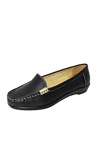 Women Soft Faux Leather Moccasin Loafer Slip On Shoes (Miss-06/Vivi-03) Black-vivi-03 N8RYvTO