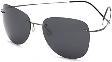 TL-Sunglasses Silueta de Titanio 100% Gafas de Sol Polaroid sin Reborde Super Ligero Hombres Polaroid Gafas de Sol polarizadas Gafas