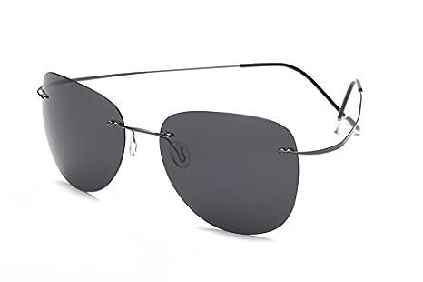 TL-Sunglasses Silueta de Titanio 100% Gafas de Sol Polaroid sin Reborde Super Ligero Hombres Polaroid Gafas de Sol polarizadas Gafas de Titanio,ZP2117 C1: ...