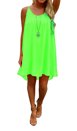 Preferhouse Women's Beach Cover Up Casual Sun Dress Maxi Tanks S Green