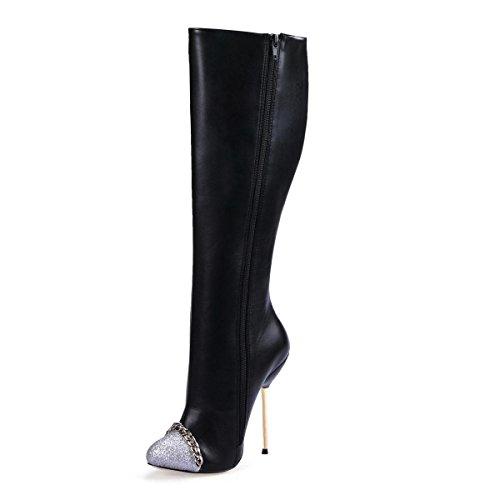 La Mejor Correa De Cuero De La Pu De Las Altas Botas De Las Mujeres 4u® 12.4cm Zapatos De Tacón Alto De Metal Con Zapatos De Invierno Negro De Punta Puntiaguda