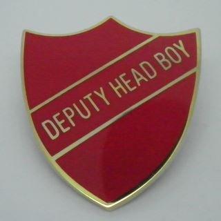 Deputy Head Boy Enamel School Shield Badge - Red - Pack of 5 by Lapal Dimension