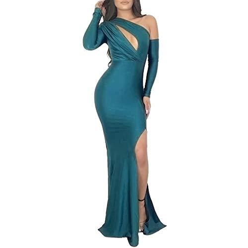 (Christmas Women's High Split Party Prom Dress Sexy Elegant Floor Length Open Back Formal Ball Evening Gown Long Dress (Green, L))