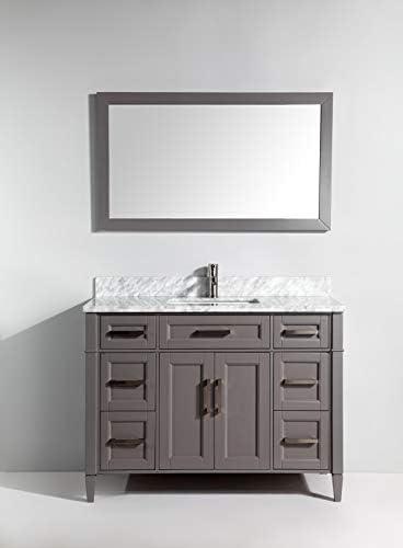Vanity Art 48 Inch Single Sink Bathroom Vanity Set Carrara Marble Stone Top Soft Closing Doors Undermount Rectangle Sink Cabinet